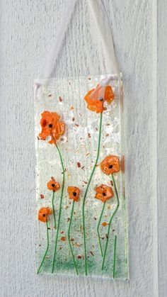 Sun Catcher Fused Glass Orange Flax Poppy Flower by TEN36Designs