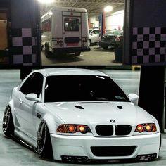 BMW E46 M3 white deep dish slammed stance