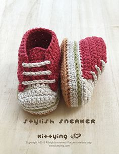 StylishBaby Sneakers Crochet Pattern Kittying Crochet Pattern by kittying.com from mulu.us  This pattern includes sizes for 0 – 12 months.