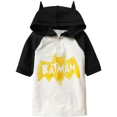 Gap Baby Junk Food Batman Rashguard Hoodie Size 18-24 M ($20) ❤ liked on Polyvore featuring baby and shirts