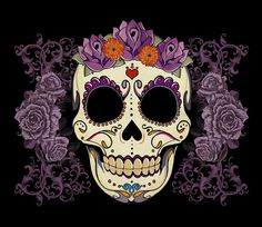 sugar skull made out of flowers tatttoo   ... Sugar Skull and Roses Digital Art... i like the crown made of flowers
