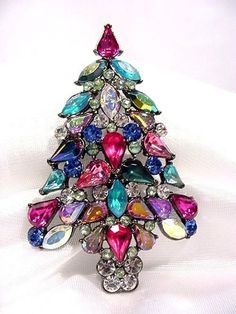 Large Gorgeous 2006 Avon Rhinestone Christmas Tree Pin 3rd Annual Multi Colors  #Avon