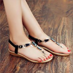 Sale 23% (9.87$) - Summer New European Style Women Slip-On Diamond Printing Soft Sole Clip Toe Flat Sandal Sh