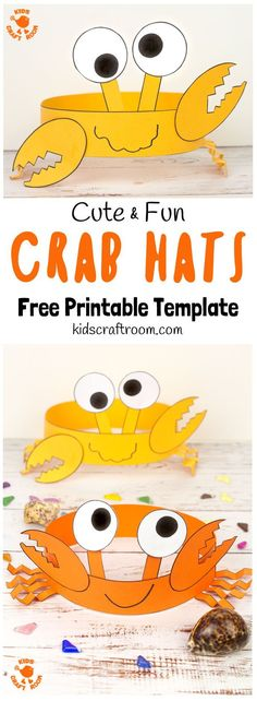 Cute and Fun Crab Hats is part of Beach crafts for kids - How cute and fun are these CRAB HATS Such an adorable Summer craft Easy to make with the printable template Beach Crafts For Kids, Beach Themed Crafts, Toddler Crafts, Art For Kids, Beach Kids, Kids Fun, Funny Crafts For Kids, Beach Party Ideas For Kids, Summer Crafts For Preschoolers