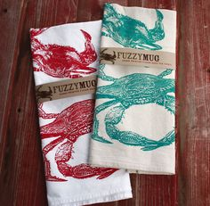 Crab Tea Towel in Teal Hand Printed Flour Sack Tea by FuzzyMug