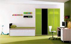 Dormitorio Juvenil en tonos verdes y blancos
