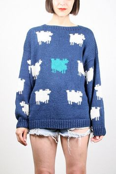 Vintage Navy Blue Sweater 1980s 80s Sheep by ShopTwitchVintage