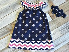 Chevron Anchor Dress:  the perfect summer dress for your little girl.  Just $11.70 this week only!