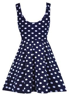 Stretchy Polka Dot Navy Dress