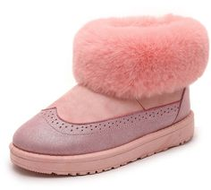 Aisun Women's Cute Warm Round Toe Fluffy Platform Slip On Flats Ankle Snow Boots Shoes ** You can get more details by clicking on the image.