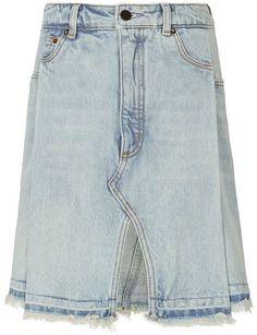 Alexander Wang Bleached Denim Pleated Skirt