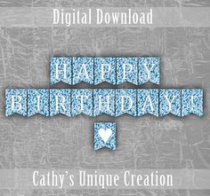 Blue Camo Happy Birthday Banner Army Birthday Party Hunting