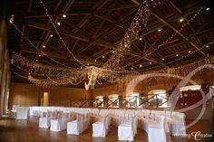 West Wing at Ickworth.  Large fairy light canopy for wedding ceremony. www.weddingcreative.co.uk