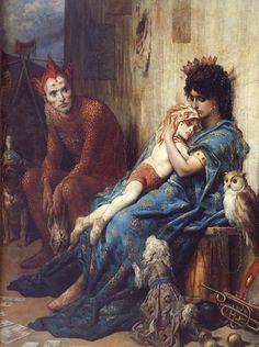 Gustave Dore - La famille du saltimbanque, l'enfant blesse.