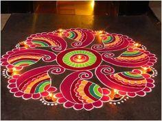 Simple Rangoli Designs Images, Colorful Rangoli Designs, Rangoli Designs Diwali, Kolam Rangoli, Beautiful Rangoli Designs, Kolam Designs, Flower Rangoli, Easy Rangoli Patterns, Rangoli Colours