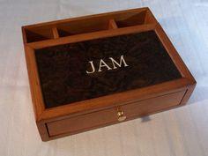 Desk Box Dresser Valet Box, Cherry Burl Inlay Monogram, Custom Order