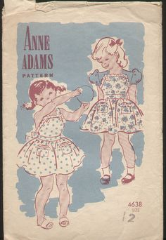 Delightfully cute vintage apron/pinafore dresses for little girls from Anne Adams. #vintage #sewing #pattern #kids #clothing