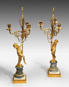 Pair of Louis XVI Period Bronze Gilt Three Arm Candelabras