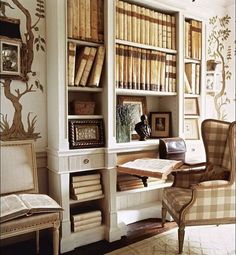 My kind of cozy little book nook. Very light and leafy