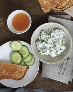 Stir 1 tablespoon chopped fresh basil, parsley, or dill into 1/4 cup low-fat ricotta cheese. Season with salt, pepper, and lemon juice. Spread on toast; top with cucumber. Makes 1 serving (136 calories).