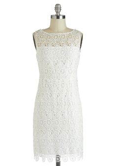 Marshmallow Creme Frosting Dress by BB Dakota - Mid-length, White, Solid, Cutout, Lace, Cocktail, Sheath / Shift, Sleeveless, Boat, Wedding, Party, Fairytale, Sheer