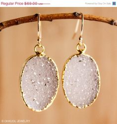 HOLIDAY SALE Soft Lavender Agate Druzy Earrings  14K Gf  by OhKuol, $55.20