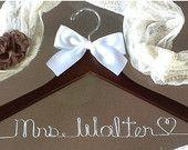 HUGE SALE Personalized Bridal Hanger / Bride by HangerDesignCenter