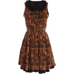 City Print Peter Pan Dress found on Polyvore