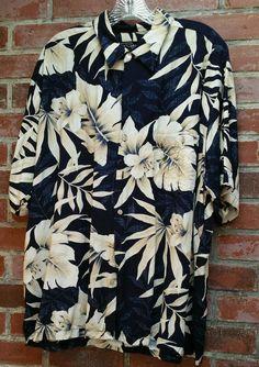 Tori Richard Button Front Hawaiian Shirt Mens XL Blue Ivory Floral Hawaii Luau | Clothing, Shoes & Accessories, Men's Clothing, Casual Shirts | eBay!