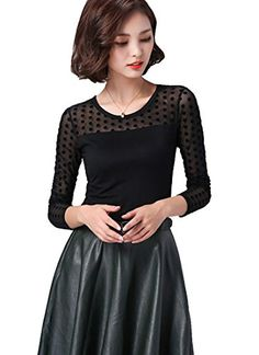 Sheicon Women Stretchy Lace Sheer Long Sleeve Turtle Neck Basic Tee Top Blouse Color Low dot Size S >>> Want additional info? Click on the image.