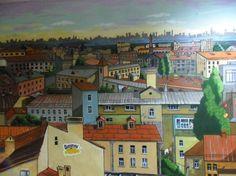 """""""Город в подъезде""""  Увидеть изображение города на всю стену можно  на ул.Коллонтай 14., м. пр.Большевиков."""