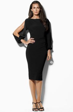 Lauren Ralph Lauren Open Sleeve Jersey Sheath Dress | Nordstrom