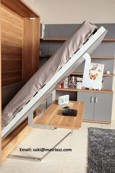 Newest Design China hidden wall bed Supplier, Modern bedroom furniture wall bed murphy bed Cama Murphy, Murphy Bed Desk, Murphy Bed Plans, Murphy Bed Office, Bedroom Furniture Design, Bed Furniture, Bedroom Decor, Smart Furniture, Girls Bedroom