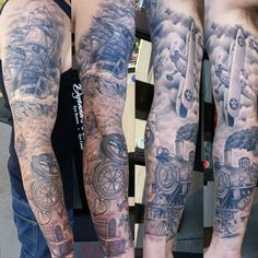 Finished! #traveling #travelsleeve #armsleeve#blackandgrey #blackandgreytattoo #traveler #traveling #trains #traintattoo #planetattoo #shiptattoo #clippership #customtattoos #aztattooer#aztattoos#chandlertattoos#aztattootimes #discipletattoo#disciple #clippership #mesa #arizona #arizonatattoos #ianloughlin #tam #azblackandgrey