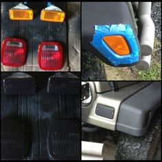 Blacked out tail lights, fender flare lights, and front turn lights. $9 for a can of rustoleum headlight tint! #jeep #wrangler #diy #fender flares #taillights #lenstint #rustoleum #paintitblack 2005 Jeep Wrangler, Jeep Xj, Jeep Wrangler Unlimited, Jeep Wrangler Accessories, Jeep Accessories, Wheel Flares, Jeep Gear, New Car Smell, Jeep Baby