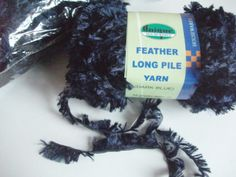 FREE P&P! 10 x 50g Feather Long Pile Yarn. Navy Blue. Destash! Craft Supplies. £8.50