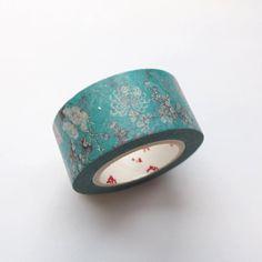 Washi Masking Tape Roll - Metallic Blue Nature Masking Tape, Washi Tape, Metallic Blue, Japanese, Paper, Nature, Decor, Duct Tape, Naturaleza