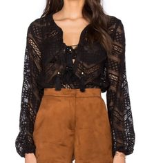 Line + Dot tassel lace top Brand new retail item. This top will be your  summer staple! On trend lace and tassel blouse, tie front closure, tassels also at sleeves. 50% rayon, 50% cotton. Modeled in a small. No trades. Line & Dot Tops Blouses