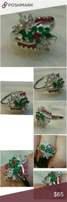 Genuine Emerald /Ruby & White Sapphire Ring Size 9 So Colorful, so ALIVE! just bursting with class and volor!  Set in 925 stamped Solid Sterling Silver. Please see all pictures for details. Brand New. Never Worn. Wholesale Price. Msrp 725.00 Jewelry Rings