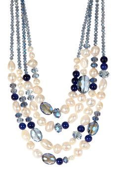 Freshwater Pearl & Crystal Multi-Strand Layered Necklace