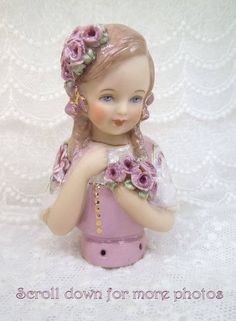 Porcelain Half Doll - Pincushion - Lara Rose