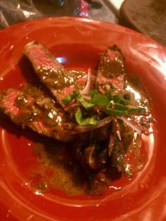 Steak with Bourbon sauce.