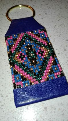 Beaded keychain Blue American native by VAT