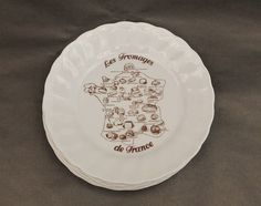 Cheeses from France French Fromage Plates Set of 6Vintage