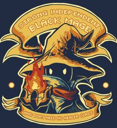 """Strong Independent Black Mage"" ( t-shirt ) by Tchuk    ""Saucer Crest"" ( t-shirt ) by Letter Q Artwork    ""Choco Billy's Chocobo Ranch"" ( t..."