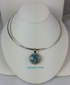 Silver Plate Choker Necklace with Teal Changeable Snap Pendant.  I'm A Snap!  Changeable. Multi looks in One! by SpangleCrystals on…