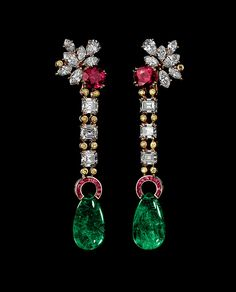 Alexandre Reza  RUBY AND EMERALD EARRINGS Earrings featuring 2 unheated Burmese cushion-shaped rubies weighing 5.52cts. 2 emerald drops weighing 22.62cts, 6 emerald cut diamonds weighing 4.76cts (D.VVS2 to E.VS1), marquise and pear-shaped diamonds weighing 4.30cts and fancy yellow brilliants weighing 0.36ct, calibrate rubies weighing 0.89ct.
