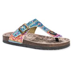 Women's Muk Luks Tina Footbed Sandals - Multi-Colored 6