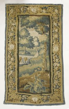 An Aubusson tapestry, late 17th century, centred with an heron standing in a river landscape, the border decorated with birds Sold for £620 on 8th December 2015