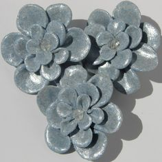 SALE/Handmade Fimo Flowers/Light Blue. $4.50, via Etsy.